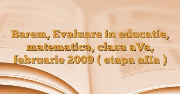 Barem, Evaluare in educatie, matematica, clasa aVa, februarie 2009 ( etapa aIIa )