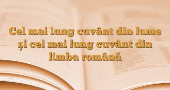 Cel mai lung cuvânt din lume și cel mai lung cuvânt din limba română