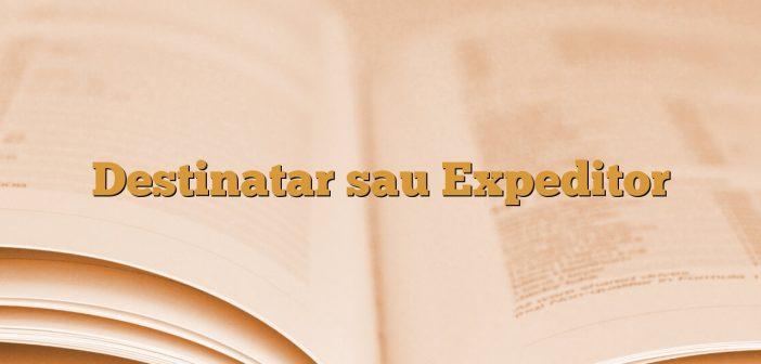 Destinatar sau Expeditor