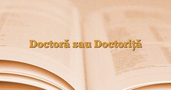 Doctoră sau Doctoriţă
