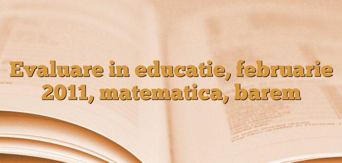 Evaluare in educatie, februarie 2011, matematica, barem