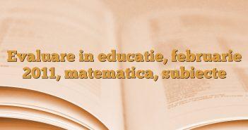 Evaluare in educatie, februarie 2011, matematica, subiecte