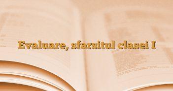 Evaluare, sfarsitul clasei I