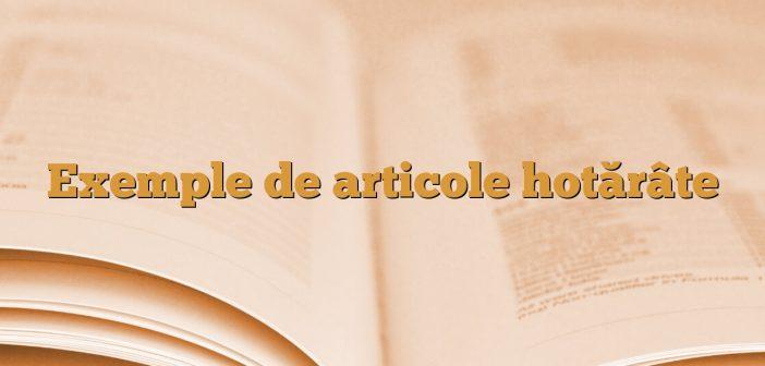 Exemple de articole hotărâte