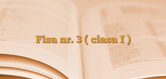 Fisa nr. 3 ( clasa I )
