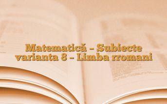 Matematică – Subiecte varianta 8 – Limba rromani