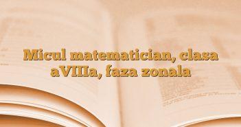 Micul matematician, clasa aVIIIa, faza zonala