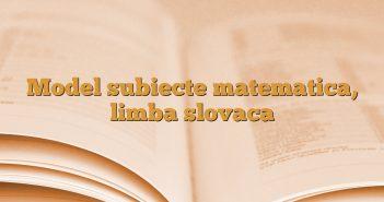 Model subiecte matematica, limba slovaca
