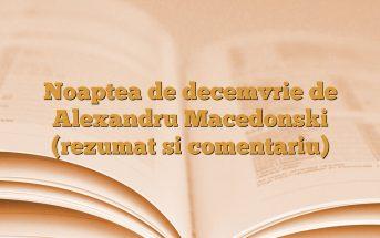 Noaptea de decemvrie de Alexandru Macedonski (rezumat si comentariu)