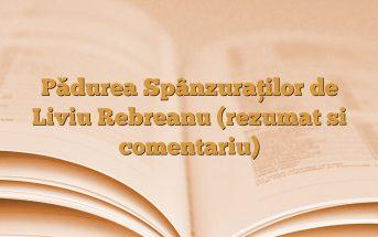 Pădurea Spânzuraţilor de Liviu Rebreanu (rezumat si comentariu)