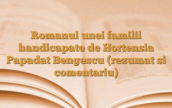 Romanul unei familii handicapate de Hortensia Papadat Bengescu (rezumat si comentariu)