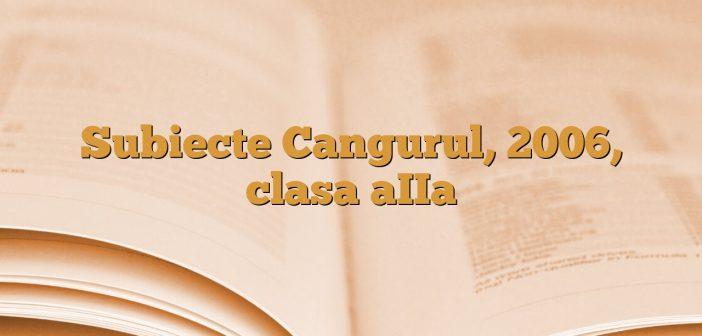 Subiecte Cangurul, 2006, clasa aIIa