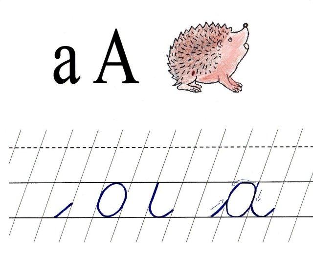 Scris de mana -Litera a mic de mana